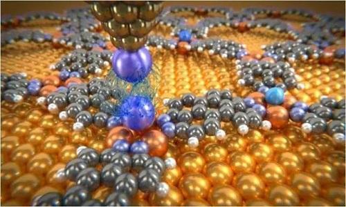 氙原子放置在特殊的网状分子结构